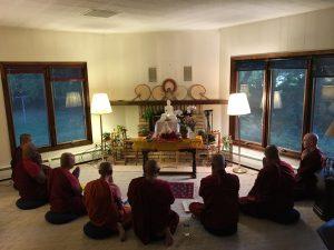 Monks meditating at Residence at Metta Retreat Center