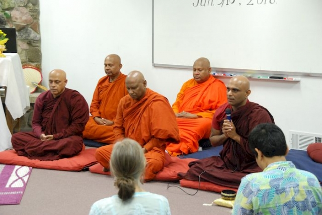 Bhante Sathi leads the Metta meditation at the Metta Meditation Center