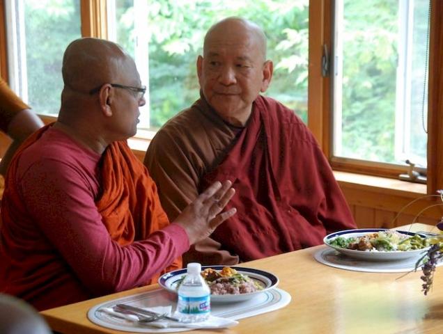 Bhante Kovida talking with Bhante  at the Metta Meditation Center