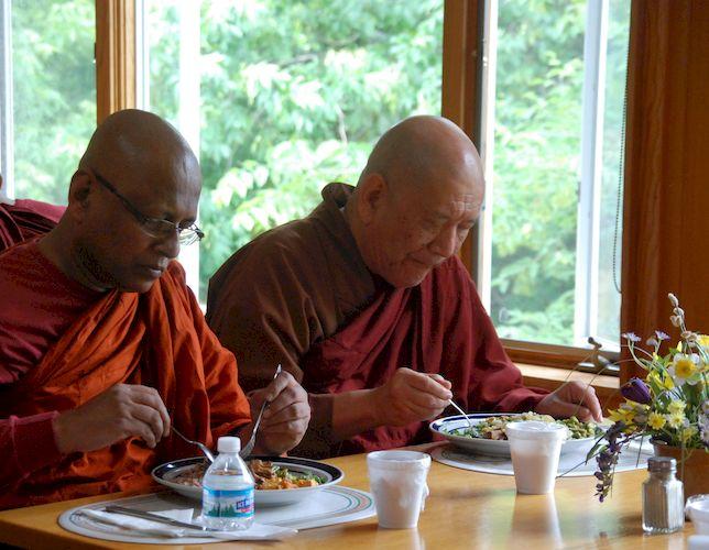 Bhante      and Bhante Kovida at the Metta Meditation Center