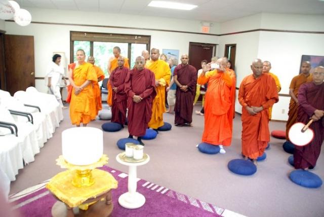 Monks gathering for dedication prayers at the Metta Meditation Center