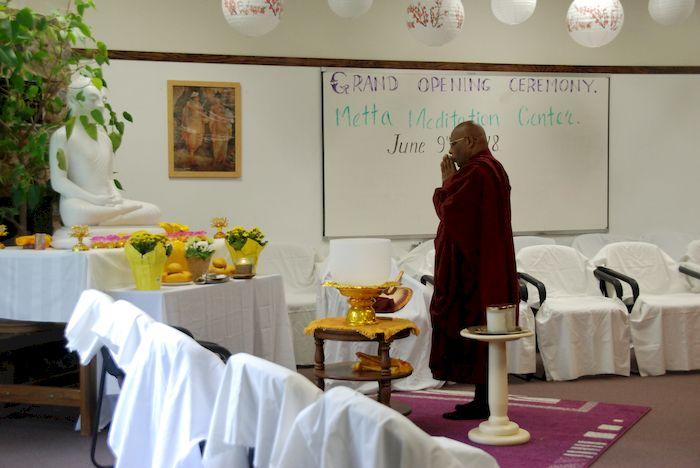 Monks chanting dedication prayers at the Metta Meditation Center