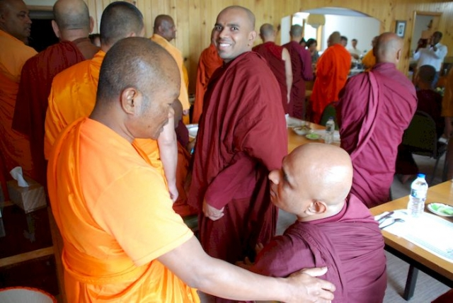 Bhante Sathi talking with Bhante