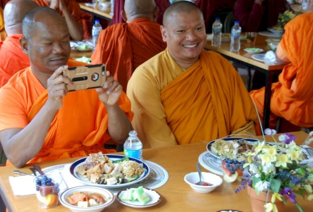 Monks during lunch at the Metta Meditation Center