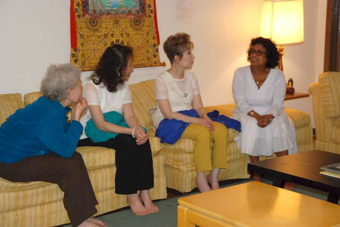 Friends of the Metta Meditation Center visiting before lunch.
