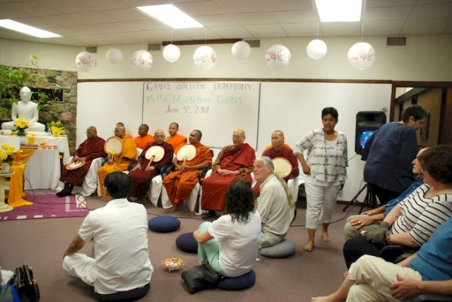 People gathering for chanting of the Sutras at the Metta Meditation Center
