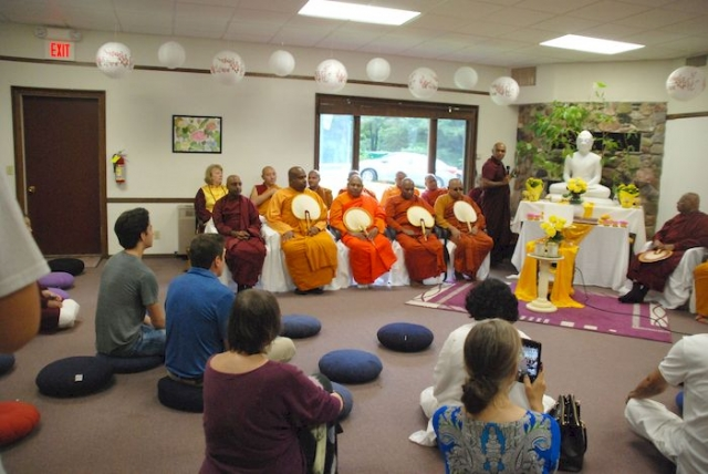 Getting ready for introductions of the monks at the Metta Meditation Center