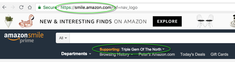 Screenshot showing smile.amazon.com donations page