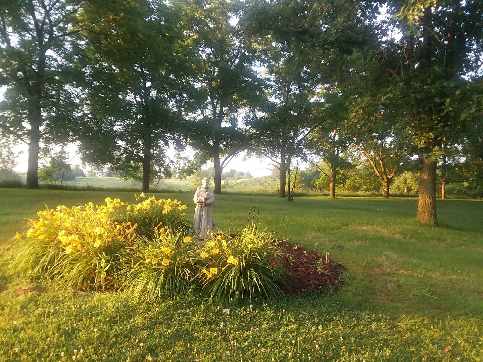 St. Francis flower garden at the Metta Meditation Retreat Center