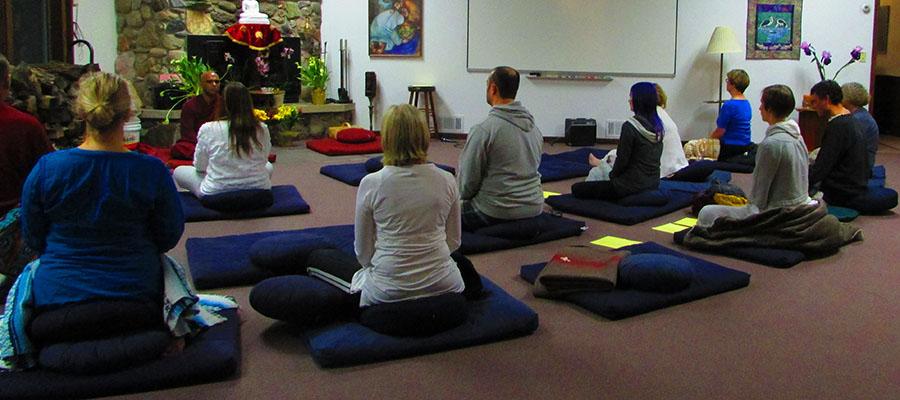 Group meditation at Metta Retreat Center