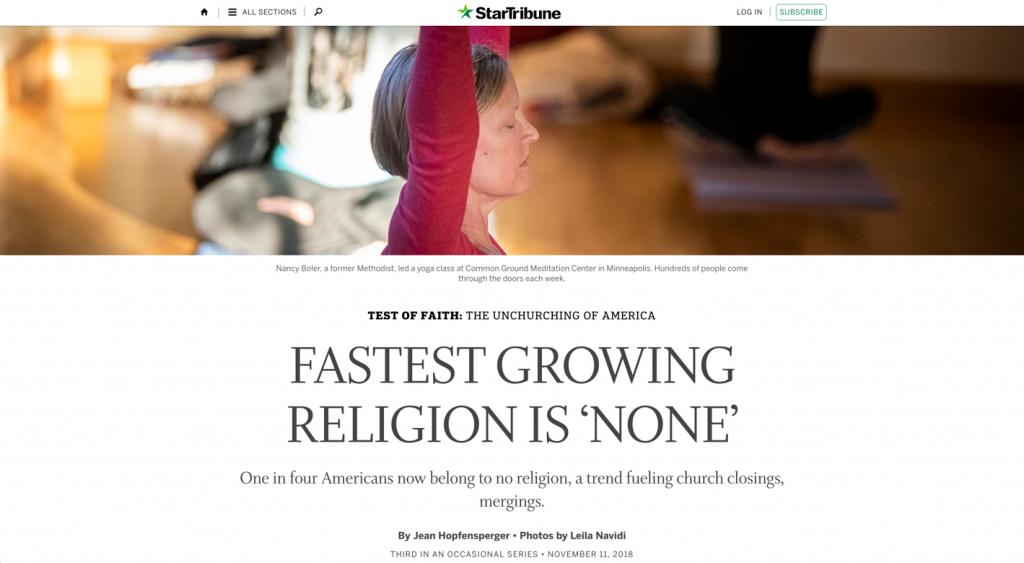 screenshot of StarTribune article on faith none