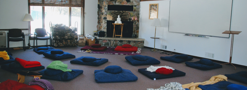 cushions in meditation area
